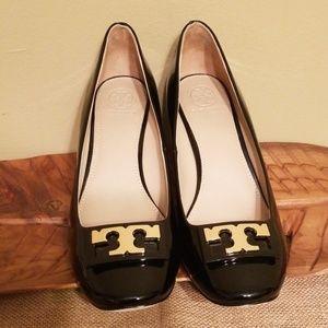 Tory Burch black patent wedge heels